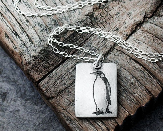 Little penguin necklace, silver penguin jewelry