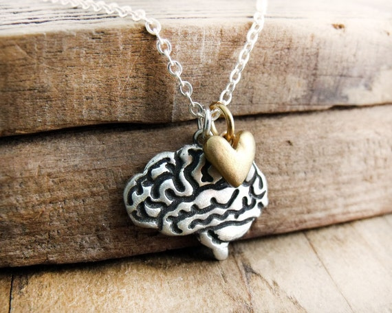 Brain necklace - I heart brains - silver and bronze