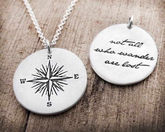 Compass necklace, Not all who wander are lost, silver compass rose necklace, inspirational quote necklace, compass jewelry, mens jewelry