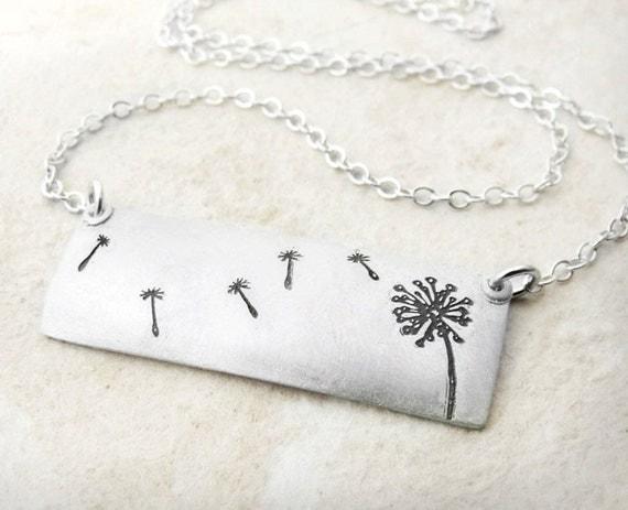 Dandelion necklace, make a wish necklace in silver, dandelion jewelry