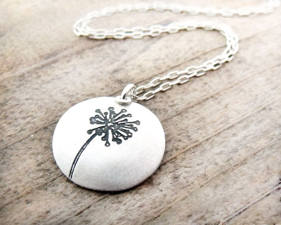 Silver dandelion necklace, make a wish, dandelion jewelry, wife gift, gift for mom, girlfriend gift, daughter gift