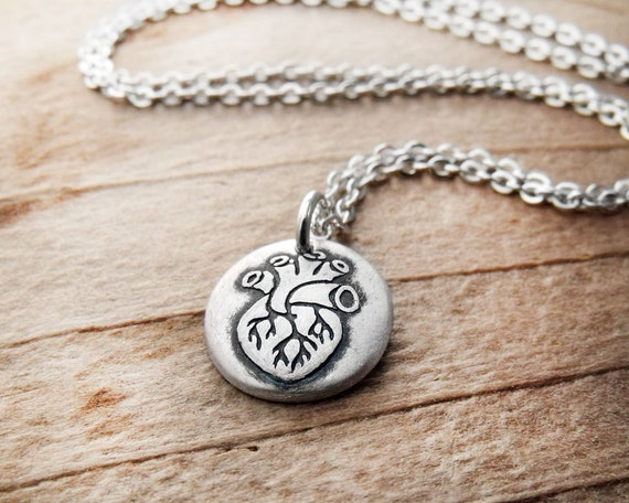 Anatomical heart necklace silver, tiny medical heart jewelry, realistic heart