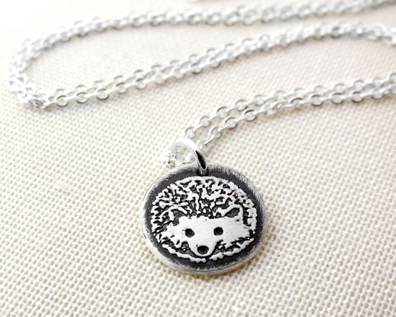 Tiny hedgehog necklace in silver, hedgehog pendant, eco friendly, hedgehog jewelry, coworker gift, gift for her, daughter gift
