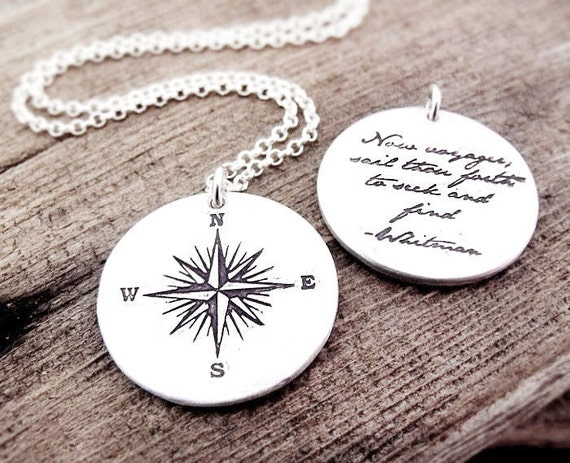 Compass rose necklace and Whitman quote, Inspirational jewelry, Graduation necklace, Voyager, gift for him, mans necklace, boyfriend gift