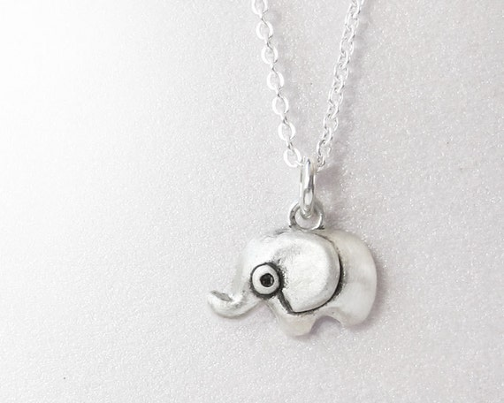 Very tiny elephant necklace, silver elephant jewelry, gift for daughter, wife gift, girlfriend gift, coworker gift