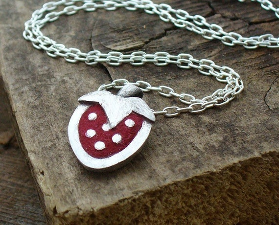 Tiny strawberry necklace in silver and concrete