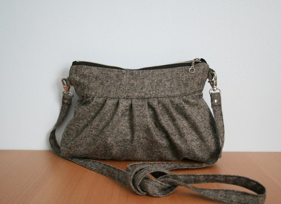 Gray Wool Clutch with Strap