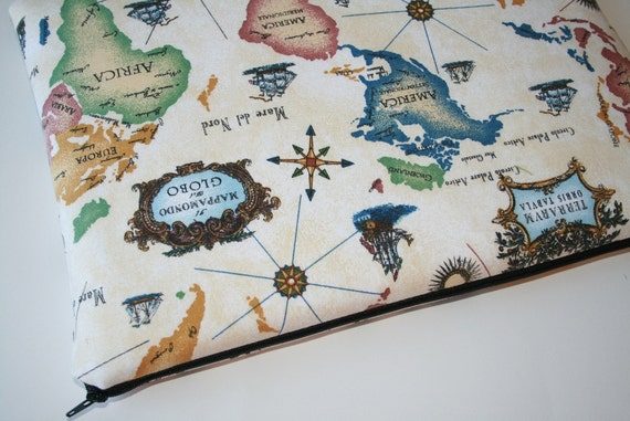 Last ONE Laptop Sleeve 13 inch Macbook or 13 inch Macbook Pro - World Map
