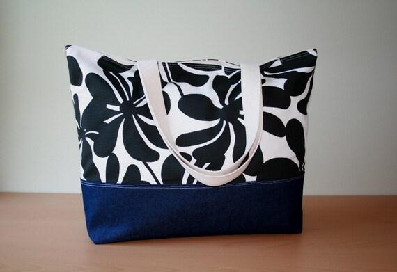 Custom Reserved for Hillary XL Beach Bag/Diaper Bag in Black Chevron