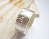 Fine Silver Flower Pattern Wide Ring custom made to size