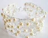 White Pearl Silver Crochet Bride Bracelet, bridesmaid, wedding
