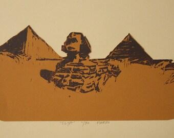 Egypt print- woodblock print, sphynx art, pyramid wall art by Michelle Farro