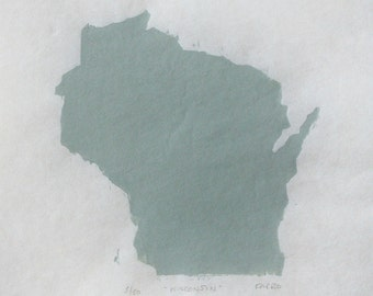 Wisconsin- Original Woodblock Print State Shape in Green