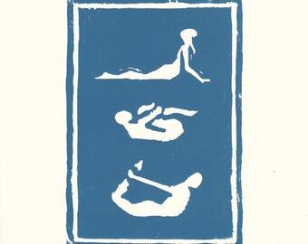 yoga poses original woodblock print in blue / yoga poster / yoga art / yoga decor / yoga gifts