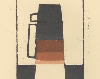 coffee thermos woodblock print / coffee lovers gift / 1970s decor / original print / coffee decor