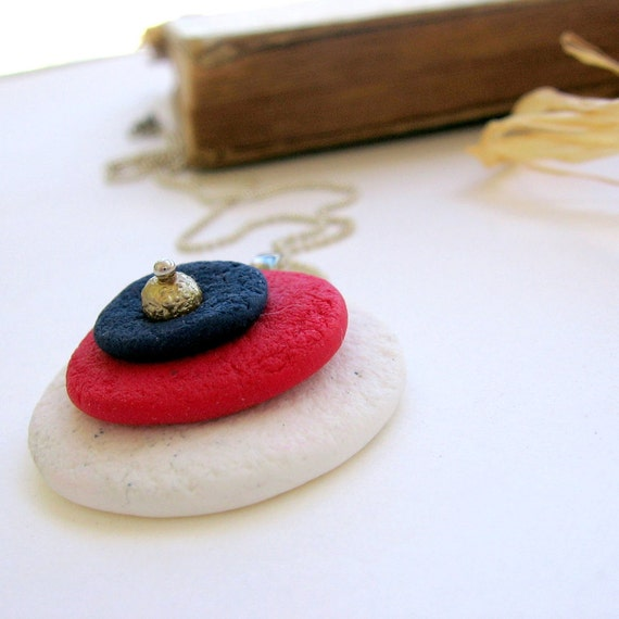 Liberty Circles - White Blue And Red Hand Sculpted Pendant - OOAK