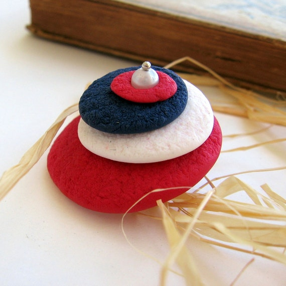 Liberty Circles - White Blue And Red Hand Sculpted Pin - OOAK
