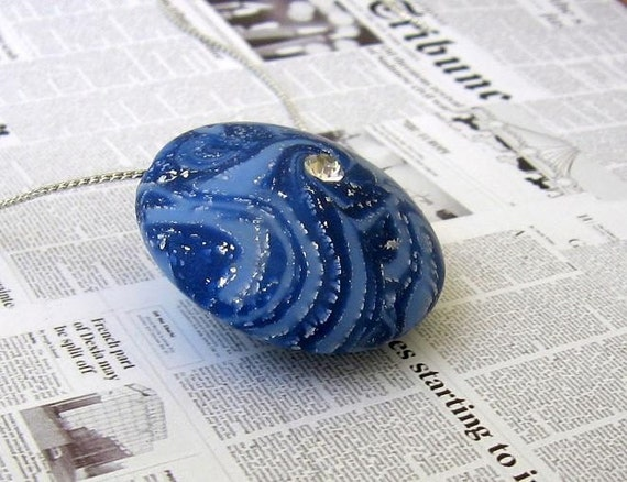 SKY IN THE River Polymer Clay Focal Lentil Bead