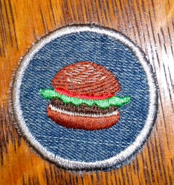 Hot and Juicy Hamburger Iron-on Patch / Merit Badge