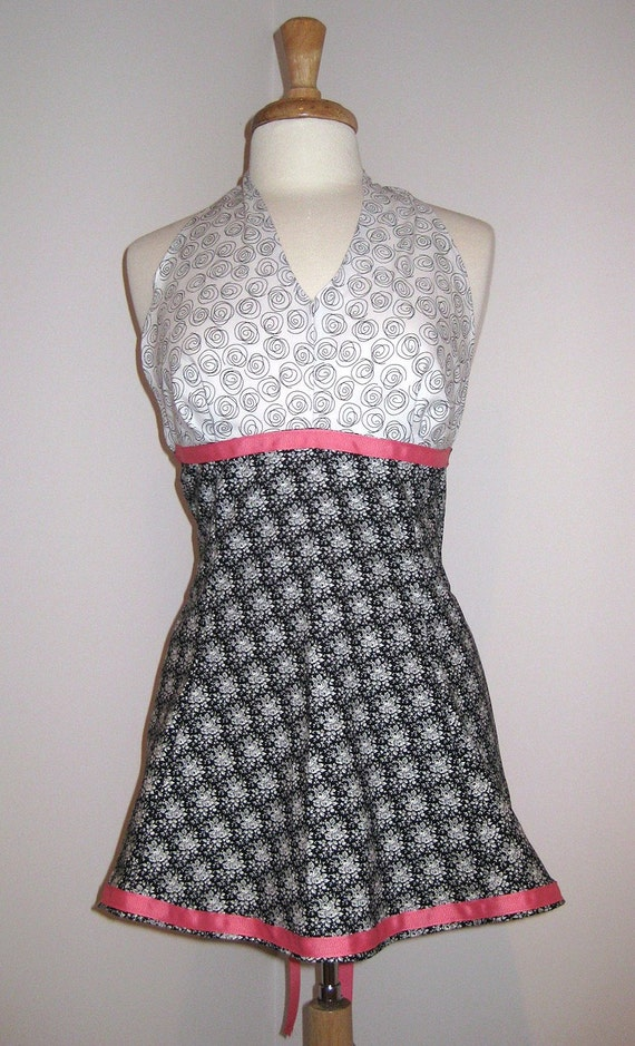 SUPER SALE- Rosey Black and White Apron