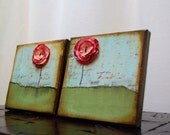 SALE Mini Poppies 5 x 5 altered canvas art set