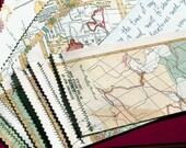 World Atlas stationary set- upcycled vintage maps