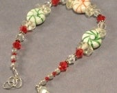 Christmas Green and Red Peppermint Candy Bracelet