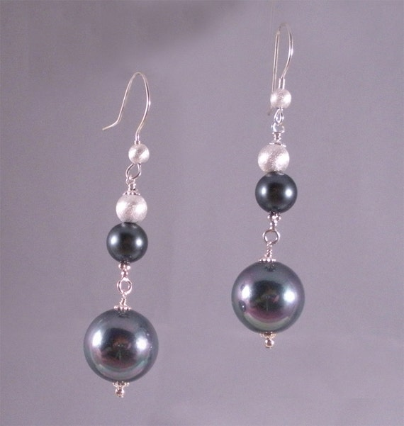 Irredescent  Black Shell Pearl with Sterling Silver Earrings