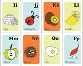 Nursery Art Print Alphabet Cards in PORTUGUESE-Illustrated Style