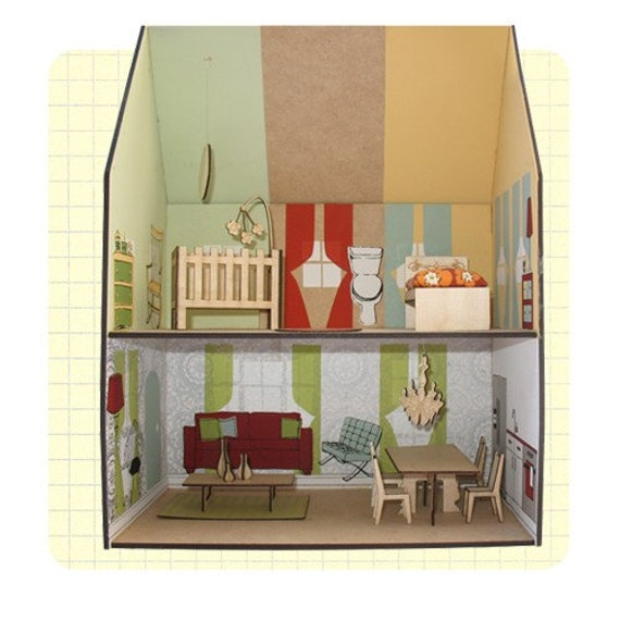 Contemporary Printed Dollhouse-Assembled- Discounted Price