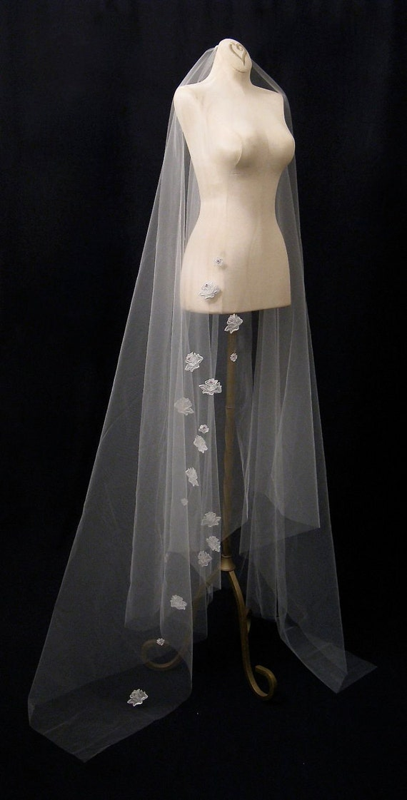 White Waltz Length Wedding Veil With Silver Roses And Pink Crystals