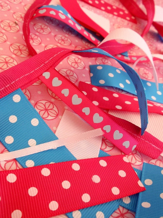 SALE Ribbon Garland - Hot Pink Turquoise