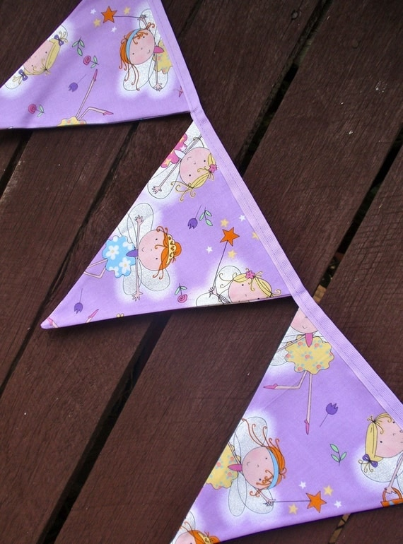 Bunting / flags / pennant strings - Purple Sparkle Fairy