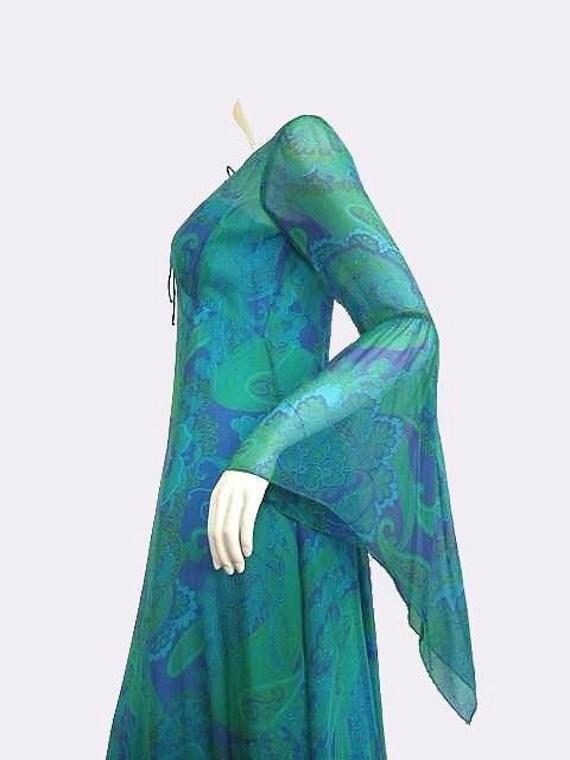 RENAISSANCE REVIVAL Vintage 60's Chiffon Wench Maxi Dress S