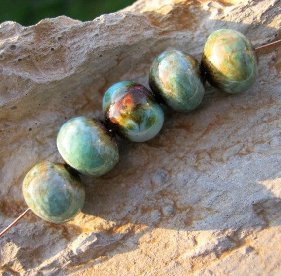 Pebbles.... enameled copper beads