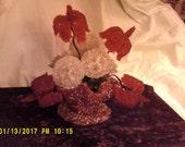 50's Mid Century Red Glass Flower Arrangement