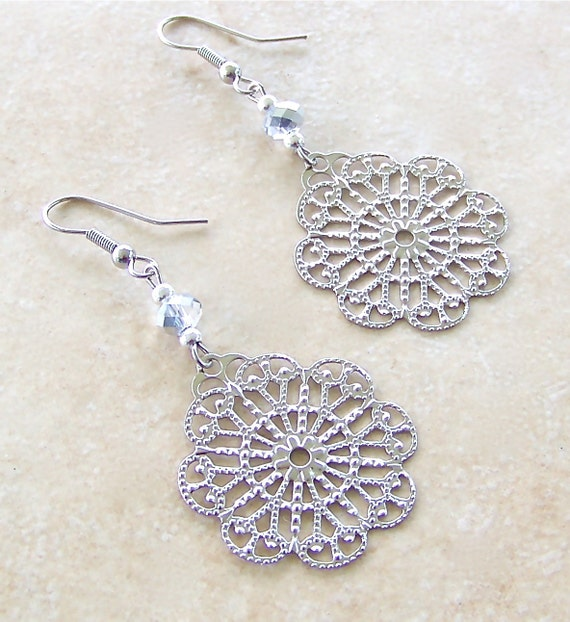Superstition Earrings Large Silver Webs With Crystal