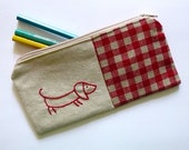 Sausage dog pencil case or zipper pouch. hand embroidery in red with gingham fabric