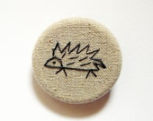 Echidna Brooch. hedgehog porcupine pin badge. hand embroidery on taupe linen cotton blend fabric