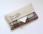 Nautical Tissue Cover. sausage dog stitched in navy blue. red and navy striped linen. Hand embroidered.