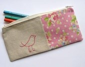 Candy pink bird pencil case or zipper pouch. hand embroidery with pink polka dot floral fabric