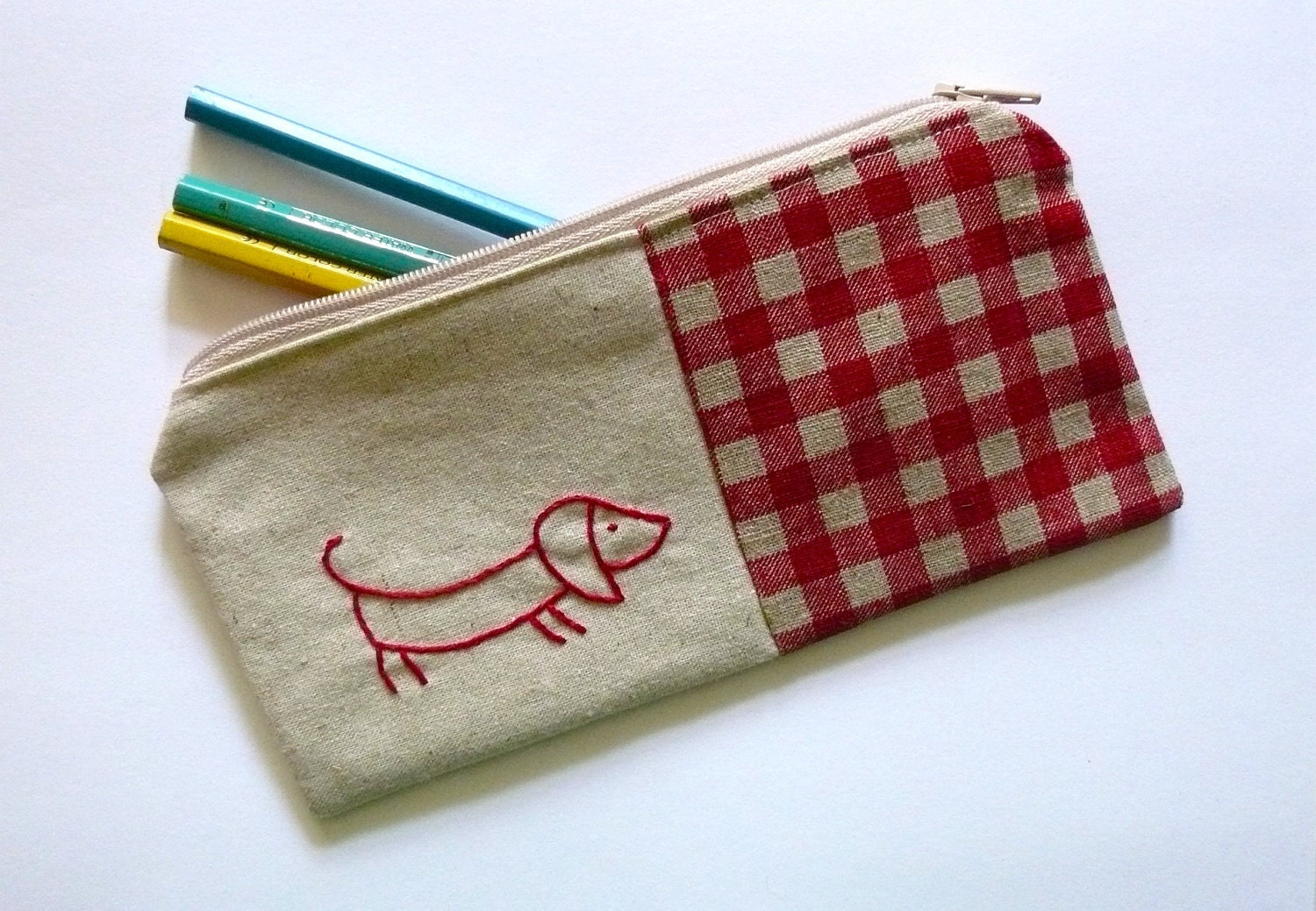 Sausage Dog Pencil Case Or Zipper Pouch Hand By