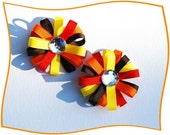 Fall Harvest Thanksgiving Party Wheel Bows Brown Orange Red Yellow