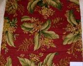 Robert Allen Meadow Rue Floral Jungle Designer Fabric Sample Leaf Red Olive