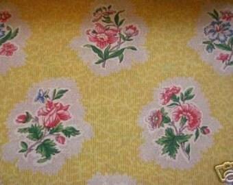 Floral Lee Jofa Fleurs Sur Corail Cotton DESIGNER FABRIC SAMPLE Yellow