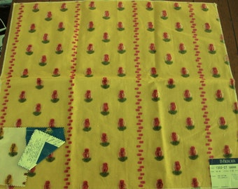 Funky Pink Fuzzy Sorrento Floral Yellow Designer Fabric Sample Bright and Hot