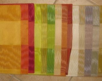 LOT Small Moire Wide Stripe Fabric Samples Sherbert Colors 21 PCS