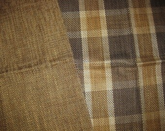 Coordinated Brown Gold Plaid Solid Burlap Designer Fabric Lot Samples