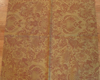 Beaumont Fletcher Marlowe Floral Damask Designer Fabric Sample WOOL Red Gold Upholstery