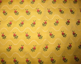 Highland Court Embroidered Floral Ribbon Designer Fabric Sample Yellow Lampas